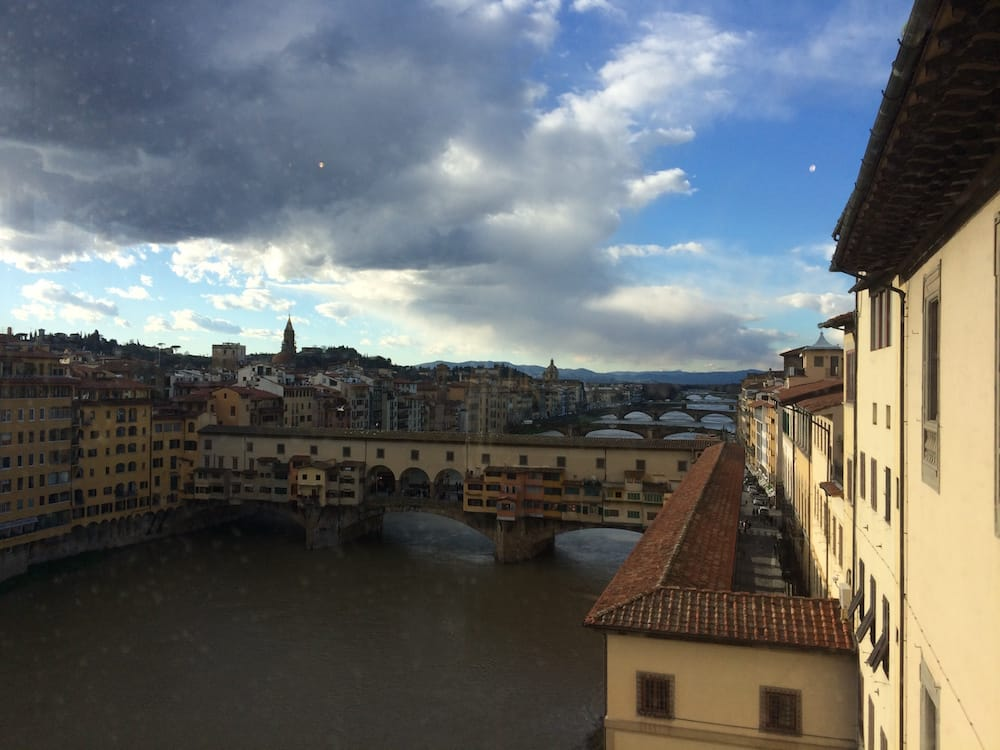We took a quick break to look out the window at the Uffizi so we could see the Ponte Vecchio