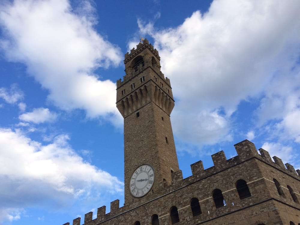 The view of the Palazzo Vecchio from the balcony/cafe at the Uffizi