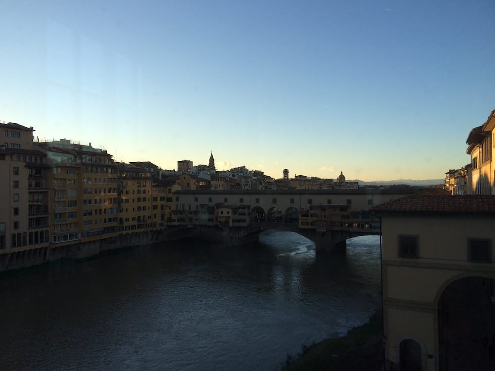 Another view of the Ponte Vecchio from the middle floor of Uffizi