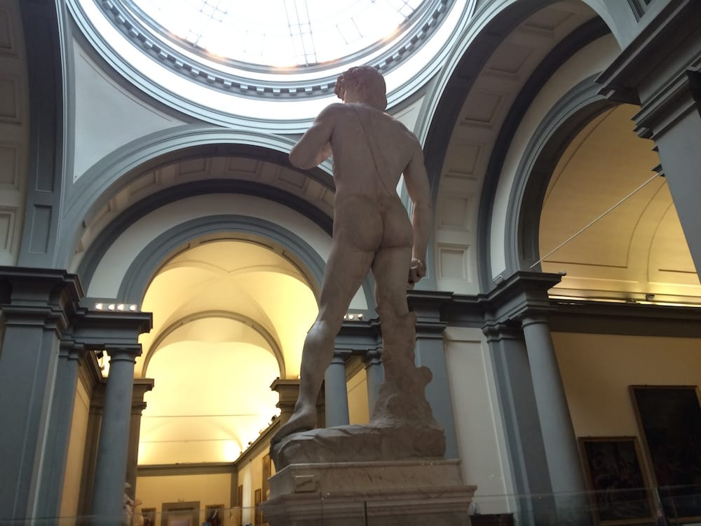 Statue of David viewed from the back