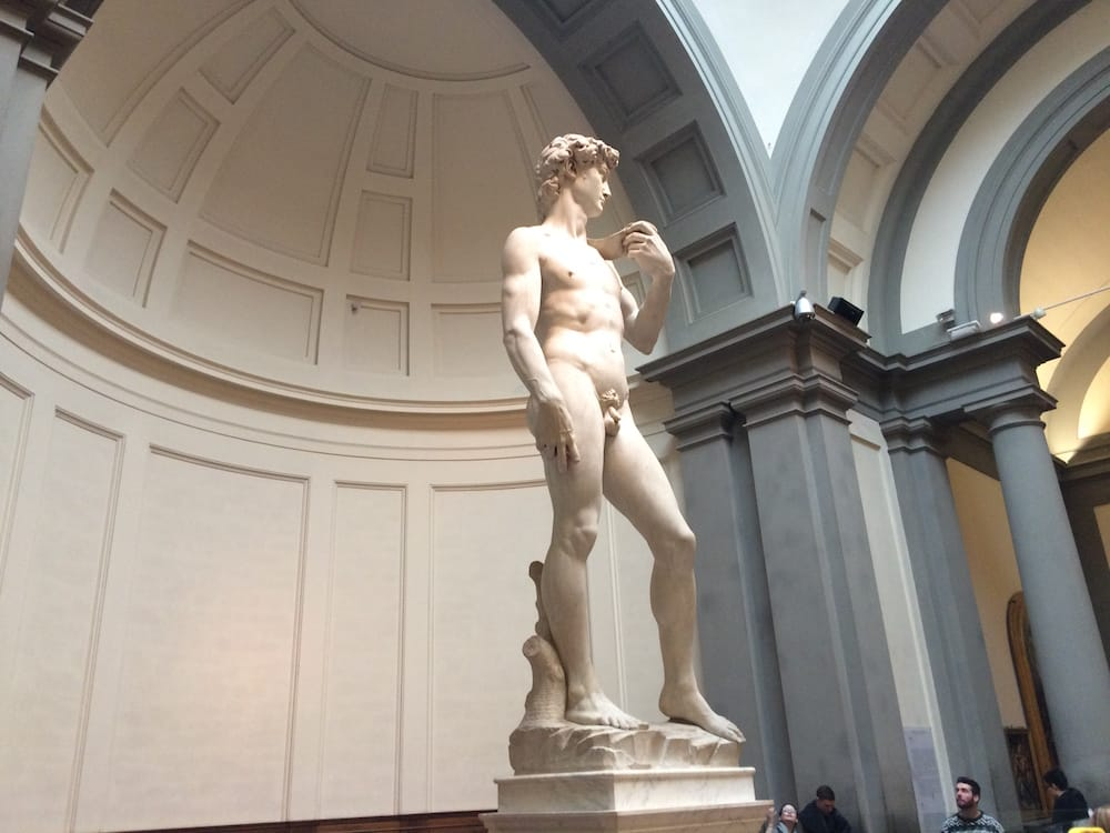 Statue of David viewed from the left side