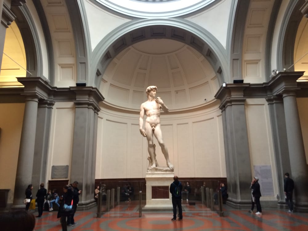 Statue of David viewed from the front, standing in the hallway before the statue