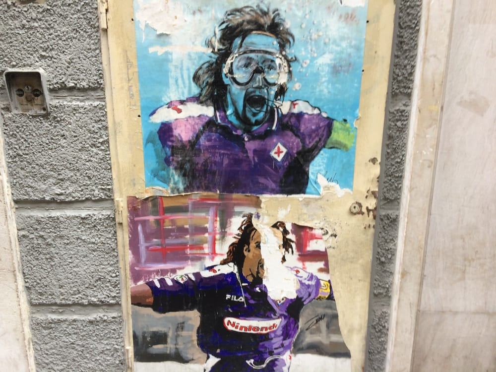 Some awesome street art, showing how a photo becomes one of the blue posters we've seen all over Firenze