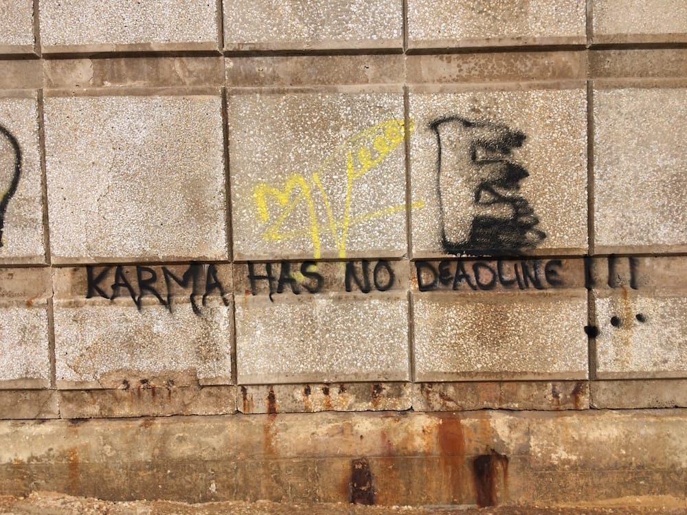 Some cool graffiti on the Valletta side of Sliema, Karma