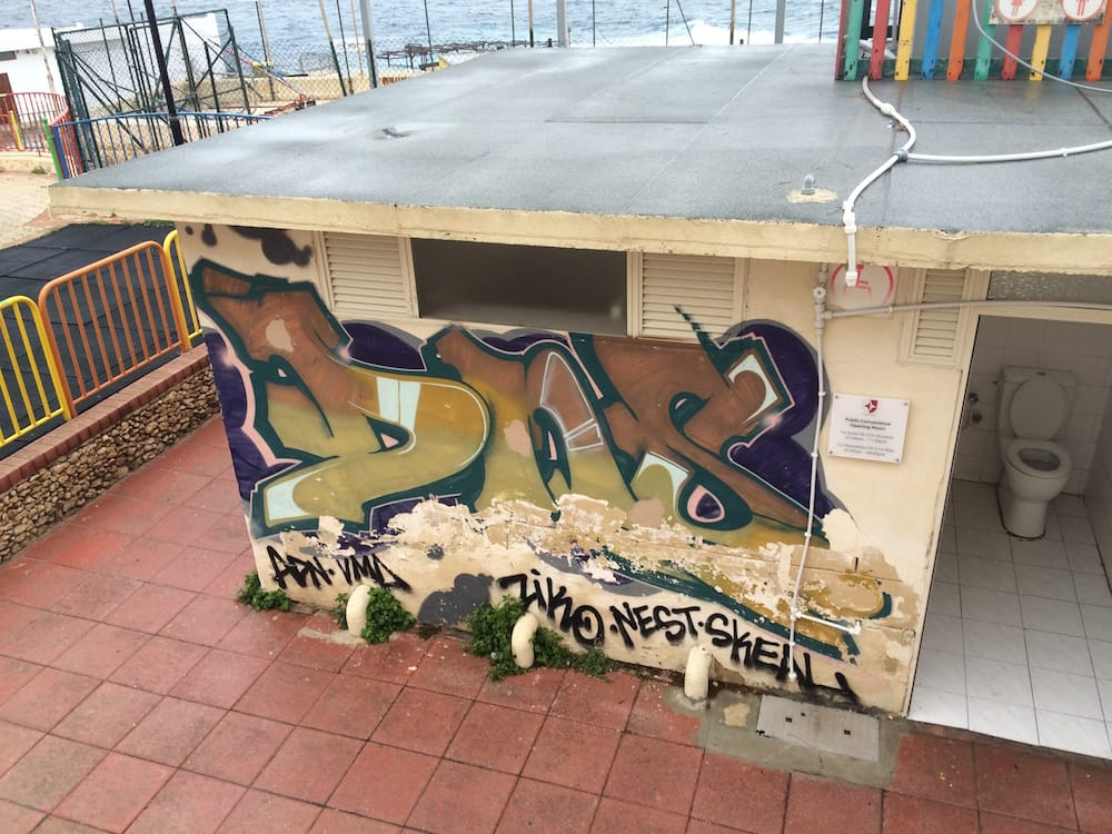 Another toilet block at Exiles Bay, with some sweet graffiti