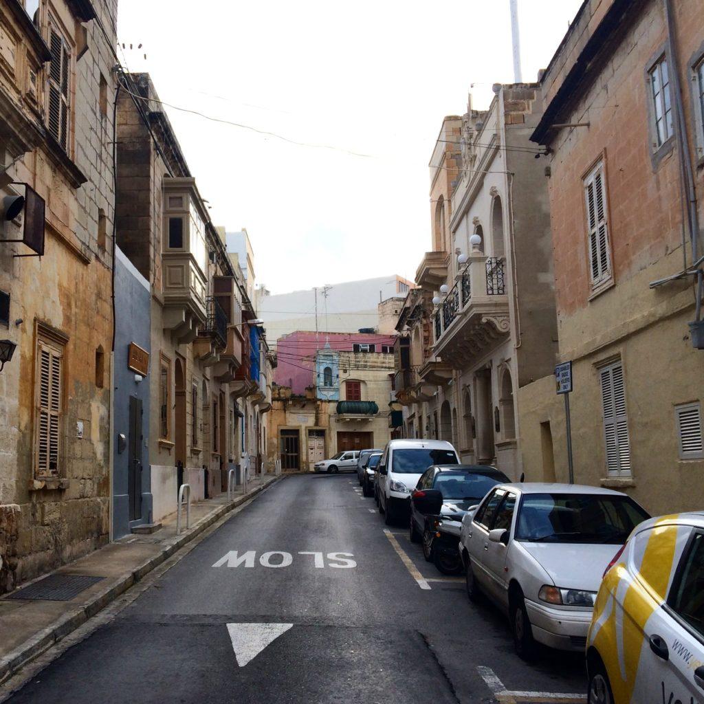 The walk up to Valletta from the ferry terminal