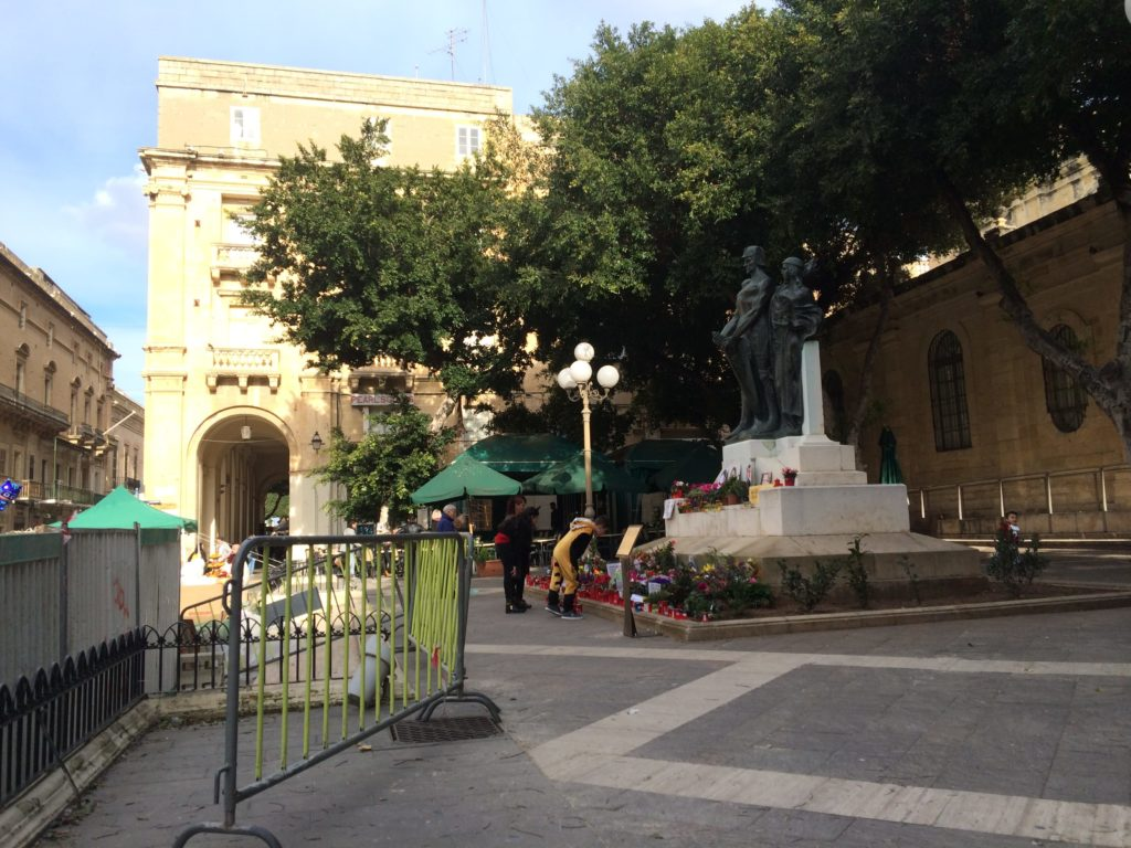 Triq ir-Repubblika, this statue commemorates a journalist killed investigating a dodgy bank in Malta