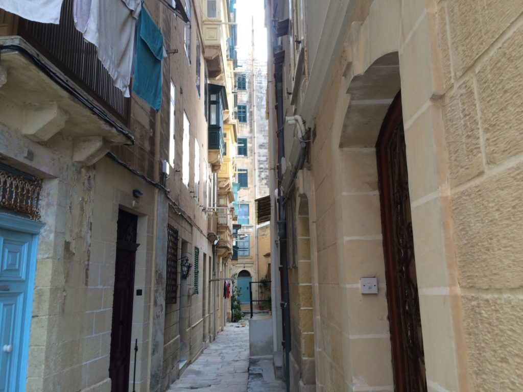 These narrow alleys in Valletta are hard to run down in an attack