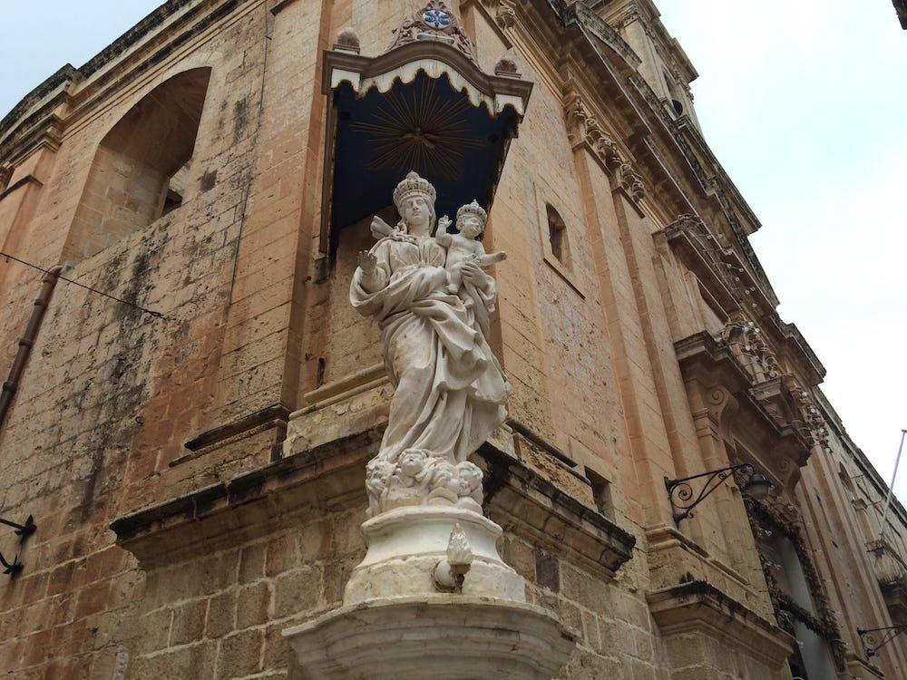 A closeup of the church niche