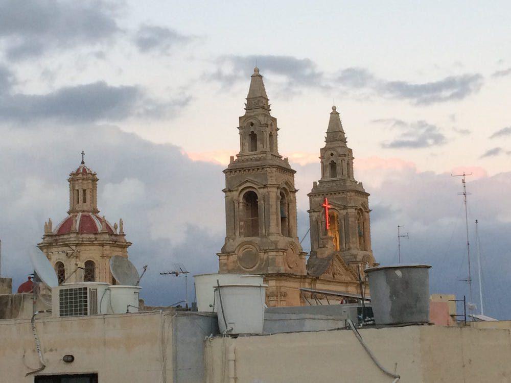 The church behind our apartment in Malta, parish church of Sacro Cuor