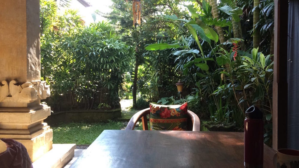 The view from our front door/outdoor table at Villa Cantik, Villa Bhuana Alit