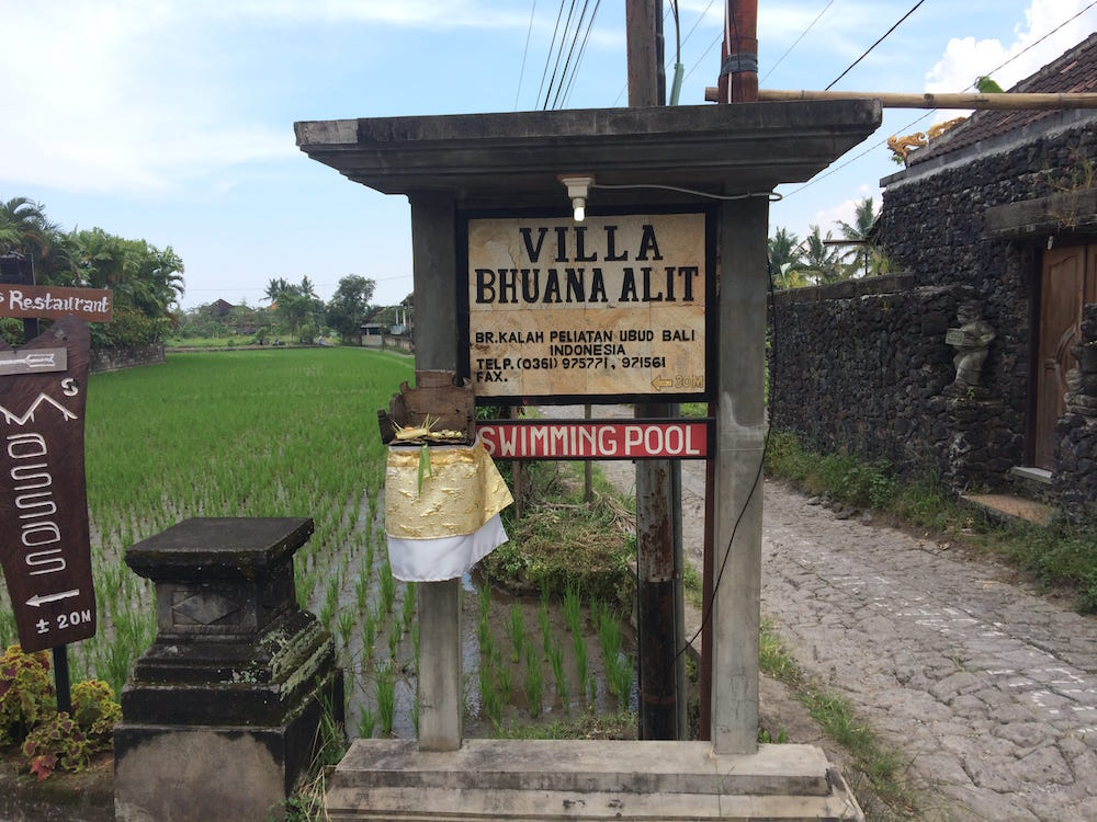 The sign for our Villa Bhuana Alit at the drive entrance