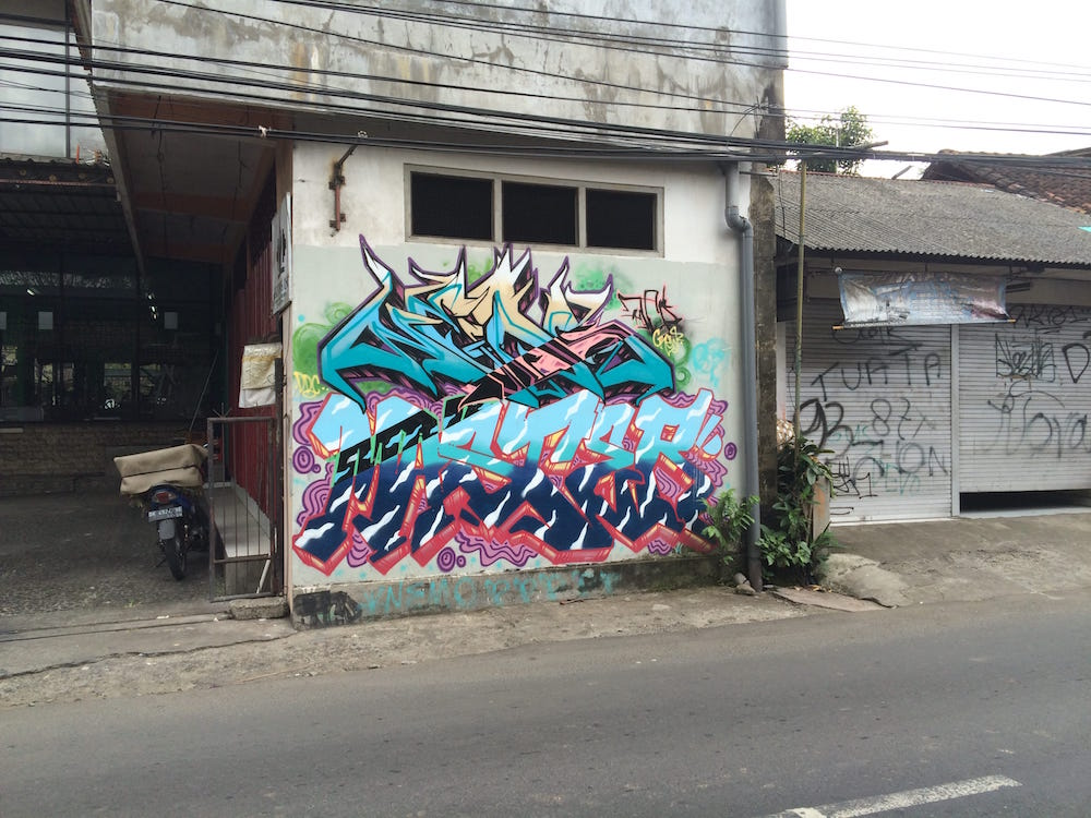 Some graffiti on our walk toward Ubud