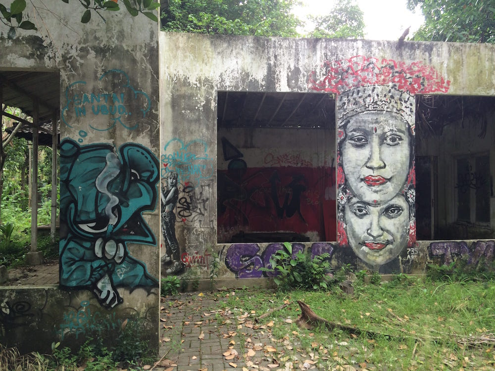 Some more graffiti livens up this abandoned building on the way to Ubud