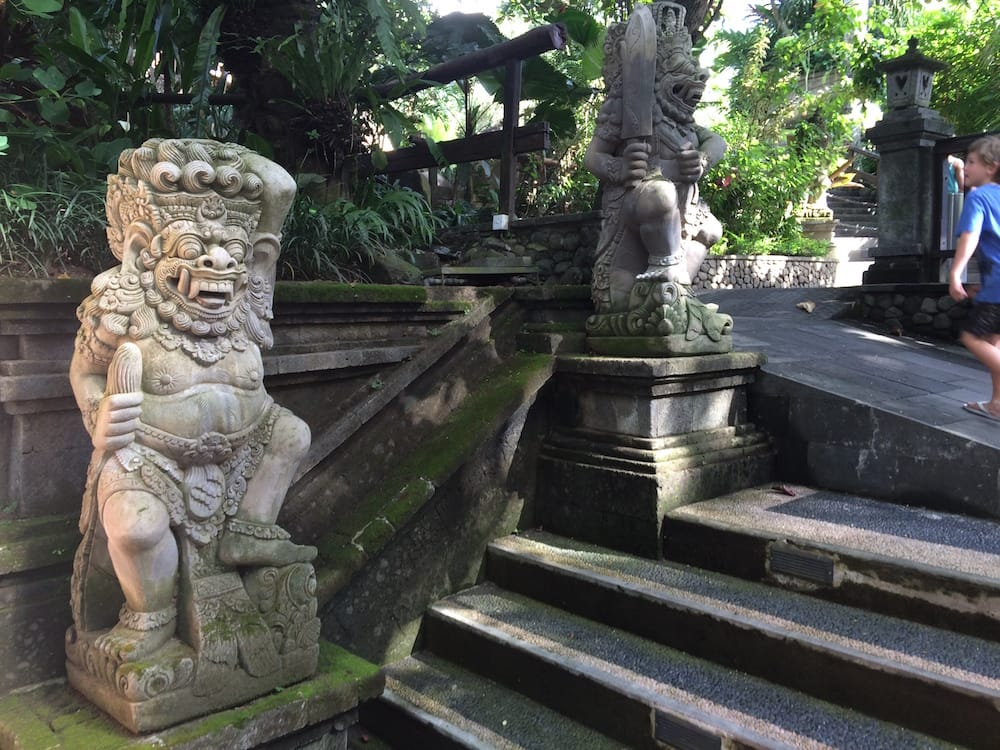 Beautiful carvings at the entrance to Bali Zoo