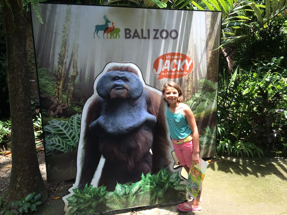 Daughter and an orangutan cardboard cutout at Bali Zoo