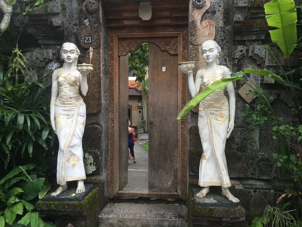 The entrance to Villa Bhuana Alit, the statues offerings were refreshed every day