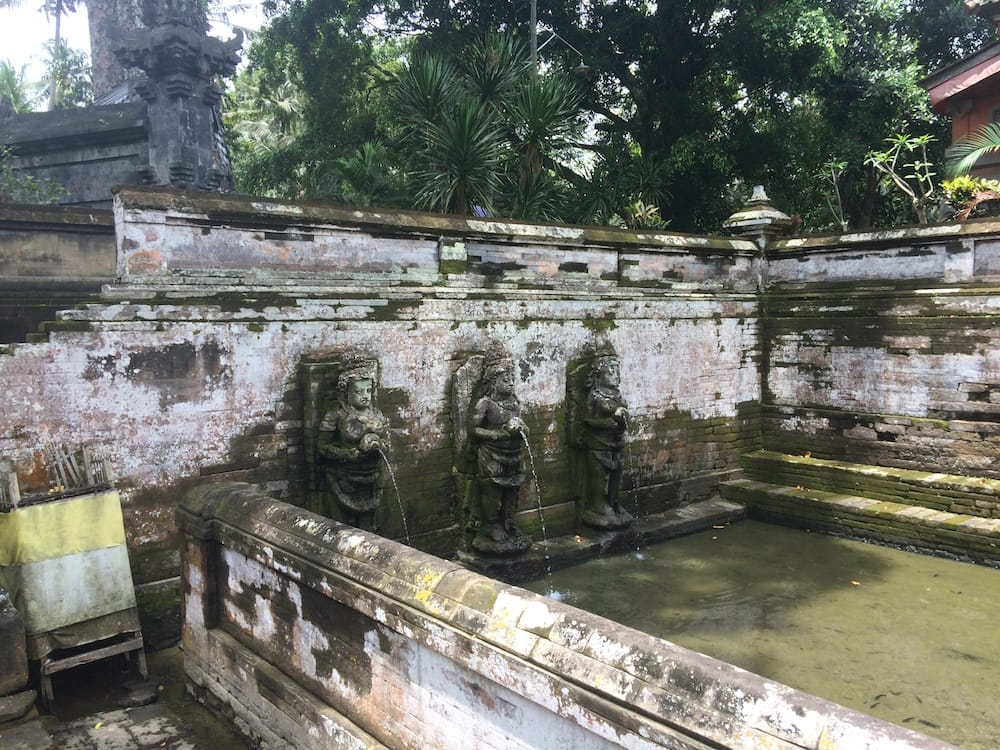 The sacred pools at Goa Gajah, at pool level looking to the right