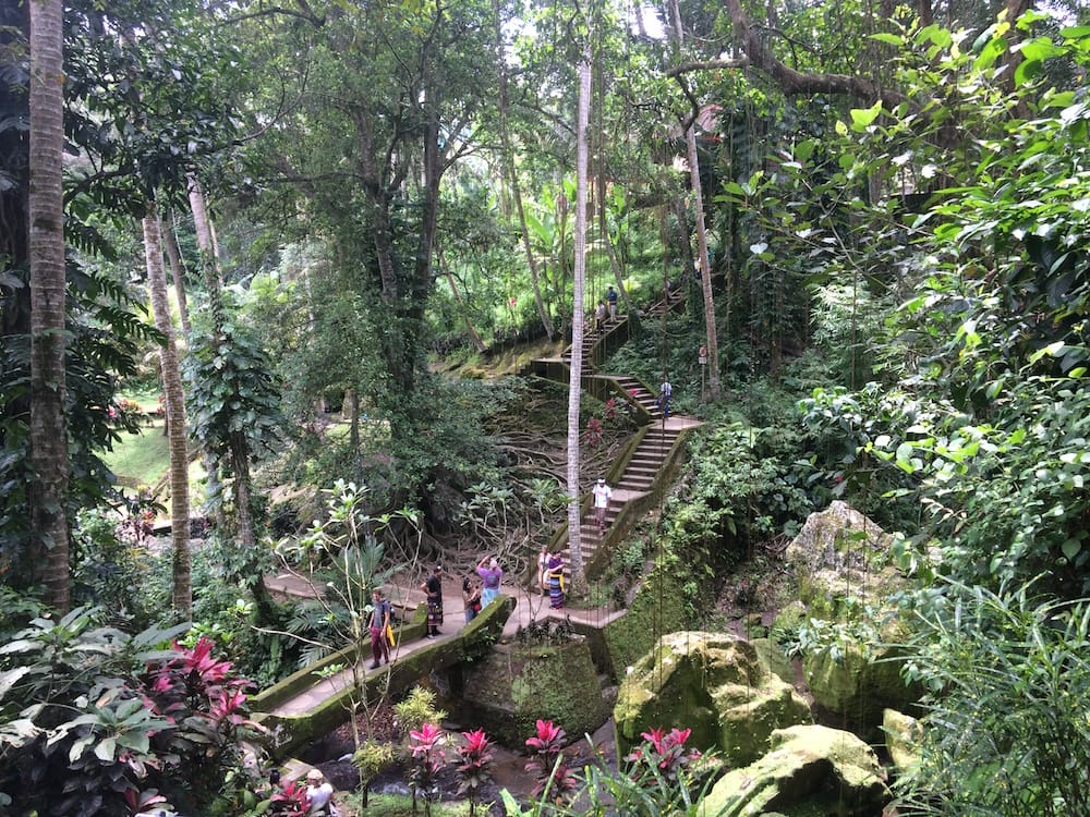 Looking back towards the entrance to the sacred garden and the exit for Goa Gajah